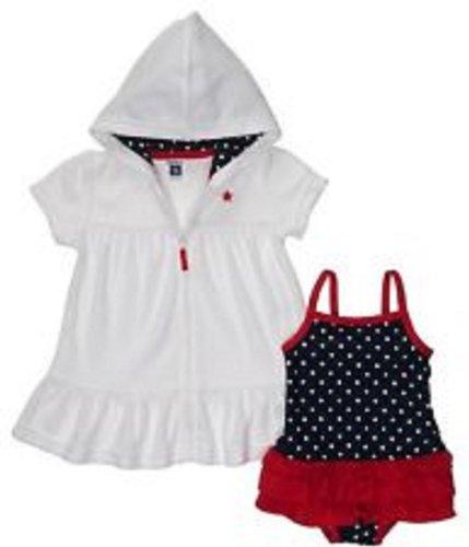 Carter'S Navy/Red Dot Ruffled Skirt Swimsuit Cover Up Set 12 Months