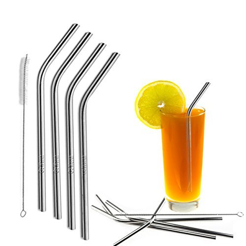 Goworth Stainless Steel Bent Drinking Straws Fits 20 oz Yeti Tumbler Rambler Cups,Set of 4,Cleaning Brush Included