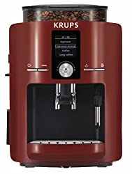 KRUPS EA8255001 Espresseria Full Automatic Espresso Machine with Built-in Conical Burr Grinder, Red made by KRUPS