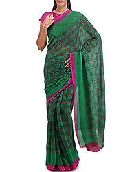 Unnati Silks Women Green-Pink Georgette Saree