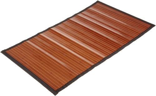 Carnation Home Fashions Bamboo 21 by 36-Inch Bathroom Floor Mat, Dark Brown Finish