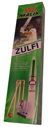 MB Malik Junior Cricket Set Bat Ball Stumps Bag & Gloves