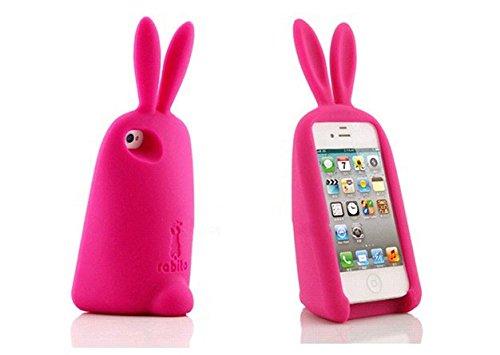ORANGE IDEAL iPhone うさぎ かわいい スマホ ケース アイフォン 5 5S 5C 対応 ラビット スタンド カバー (チェリーピンク)