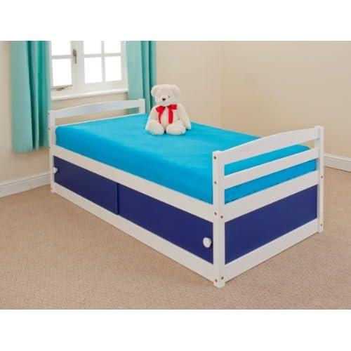 KIDS STORAGE BED BLUE - 3ft SINGLE WOOD PINE