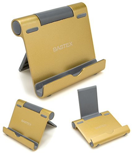 Bastex Multi-Angle Portable Aluminum Stand for 4 to 10-Inch Smartphones, E-Reader and Tablets - Gold