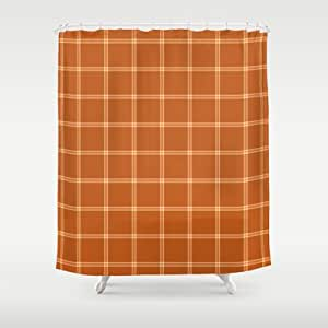 society6 burnt orange and plaid shower