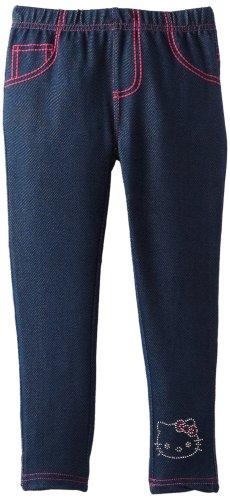Hello Kitty Little Girls' Denim Knit Legging, Medium Blue, 4 front-892343