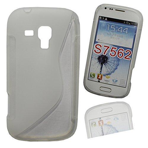 Silikon Case Hülle Etui Handytasche Handykondom Back Cover in transparent für Samsung Galaxy Trend GT-S7560 / S Duos GT-S7562 / Plus GT-S7580 / S Duos 2 GT-S7582 inkl. World-of-Technik Touchpen