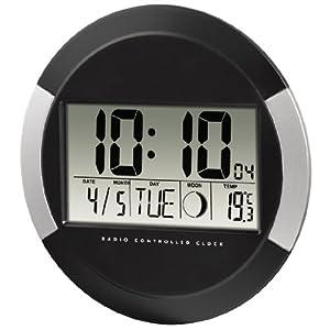 Hama Digitale Wanduhr PP-245 (Funkuhr mit Thermometer, Zeitzoneneinstellung, Kalender und Mondphase) schwarz