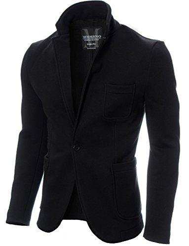 MODERNO - Slim Fit Giacca Uomo - Cotone Blazer (MOD14515B) Nero L