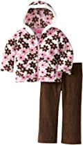 Young Hearts Baby-Girls Infant 2 Piece Floral Jackethood And Pant, Brown, 18 Months