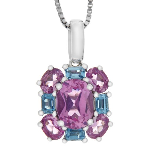 Sterling Silver Oval Created Pink Sapphire and Square Swiss Blue Topaz Pendant Necklace, 18