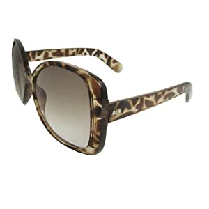 Lady Brown Plastic Full Frame Oversized Lens Sunglasses Eyeglasses
