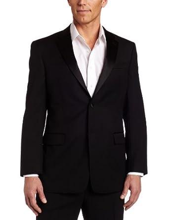 Tommy Hilfiger Men's Side Vent Trim Fit Tuxedo Coat,  Black Solid, 38 Short