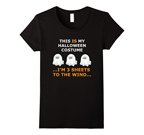 [Women's Halloween Drinking T Shirt - 3 Sheets to the Wind XL Black] (Three Sheets To The Wind Halloween Costume)
