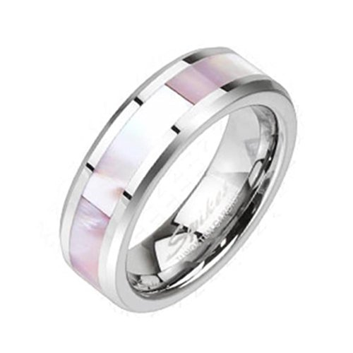 """Coolbodyart Unisex Tungsten anello in argento con """"Perlmut Carbon decorativa"""" disponibile anello misure 47 (15) - 60 (19), Tungsteno, 20, cod. CBAR-TU-209-9"""