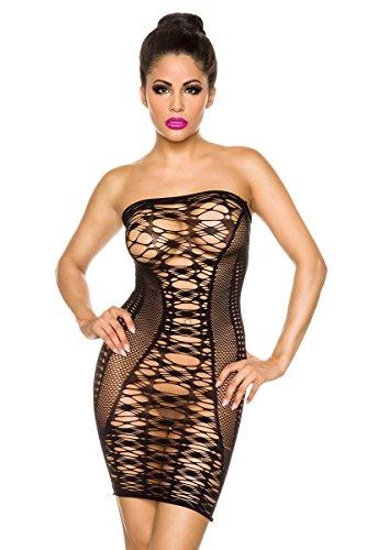 Amynetti Damen Kleid Sexy Gogo Bandeau - Minikleid Partykleid Clubkleid Dessous Negligee mit Cut Outs schwarz - one size