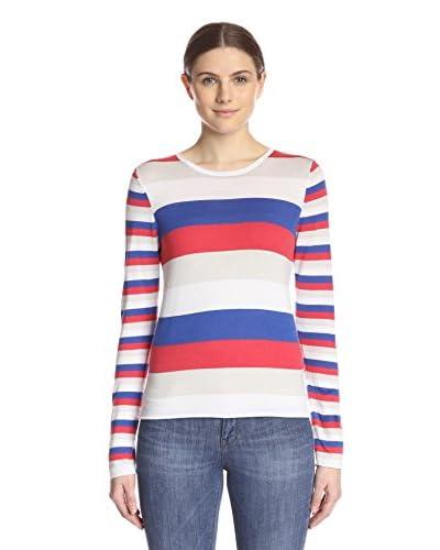 Kier & J Women's Stripe Crew Sweater  [Royal/Cocktail]