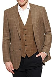 Notch Lapel 2 Button Deco Design Checked Jacket with Linen [T19-7270-S]