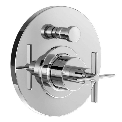 Jado 847545.150 Stoic Pressure Balance Diverter Tub and Shower Valve Trim with Cross Handle, Platinum Nickel