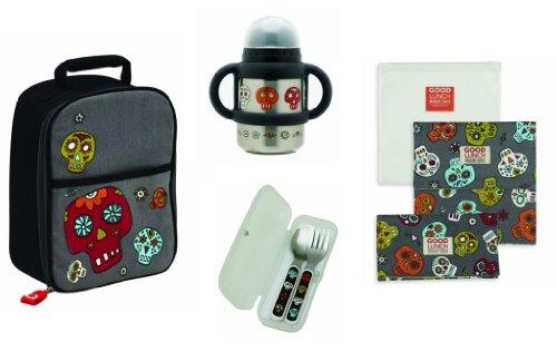 Ore Sugarbooger Zippee Lunch Box, Flip N Sip Cup, Silverware, And Snack Bag Set, Dia De Los Muertos (Day Of The Dead)