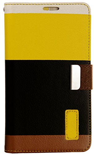 myLife Sunflower Yellow and Dark Brown {Colorful Fashion Design} Faux Leather (Card, Cash and ID Holder + Magnetic Closing) Slim Wallet for Galaxy Note 3 Smartphone by Samsung (External Textured Synthetic Leather with Magnetic Clip + Internal Secure Snap In Closure Hard Rubberized Bumper Holder)