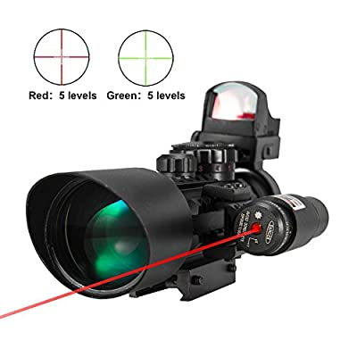 Pinty Premium 3-in-1 combo 3-10x40EG Mil Dot Tactical Riflescope Reticle with Laser Sight and Red Dot Sight Perfect for Hunting from Pinty