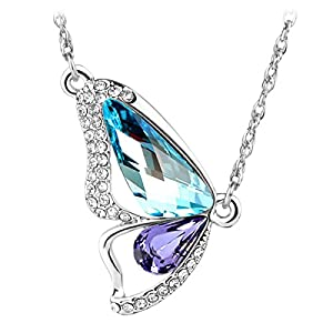 Le Premium® Brechen Cocoon Schmetterling Halskette MADE WITH SWAROVSKI® ELEMENTS Aquamarine Blau+Tansanit Lila kristalle