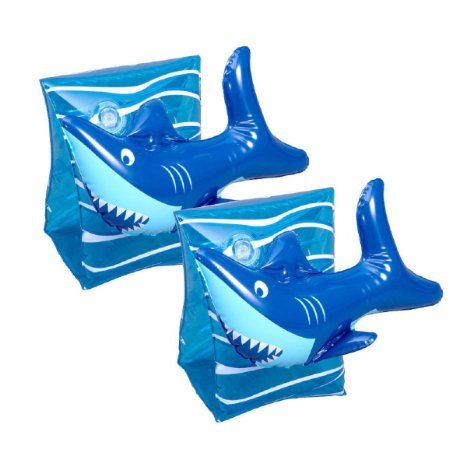SwimSchool 1 Pair 3D Shark Arm Floats (One Size 40-55 lbs)