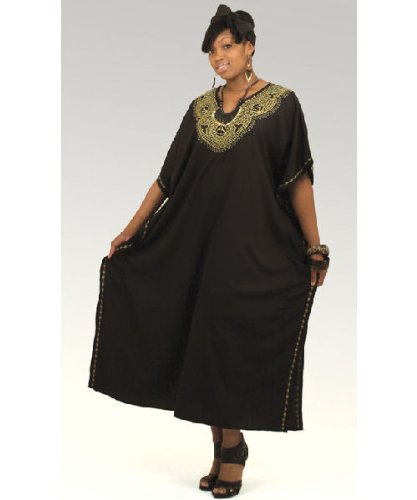 Gold Embroidered Caftan Kaftan with Matching Headwrap - Available in Several Colors