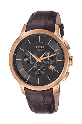 ESPRIT Collection EL101961F04 - Reloj cronógrafo de cuarzo para hombre, correa de cuero color marrón