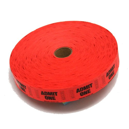 Red Admit One Ticket Roll : roll of 2000 (Admit One Ticket Roll compare prices)