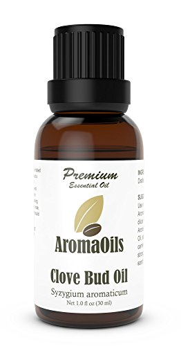 Clove Bud Essential Oil by AromaOils - 1 oz (30 ml) - 100% Pure Therapeutic Scented Oil - Best for Toothache Pain Relief, Aromatherapy, and as a Natural Antiseptic