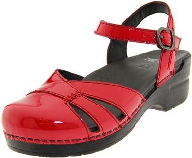Dansko Women's Maeve Ankle-Strap Sandal,Cherry Patent,39 EU/8.5-9 M US