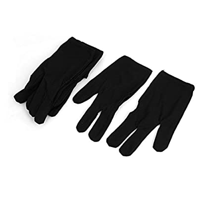 uxcell® Pool Cue Elastic Sport Billiard 3 Finger Gloves 4 Pairs Black