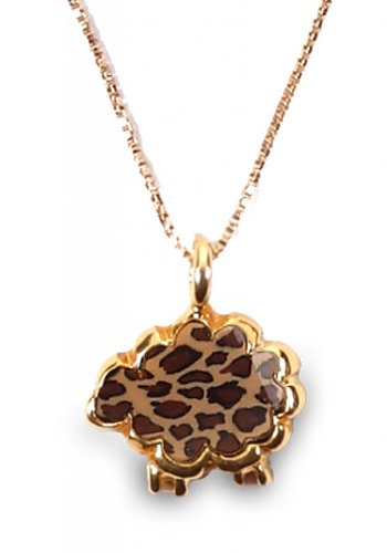 Gold Animal Jewelry For Girls - Leopard Print Charm Polymer Clay Necklace Sheep Pendant - Cute Gifts For Her 1X1Cm, 0.4X 0.4""