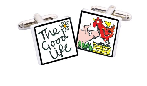 Sonia Spencer England Bone China Square Silver Plated Back Hand Decorated Good Life Cufflink