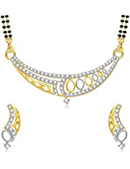 VK Jewels Shine Star Gold And Rhodium Plated Mangalsutra Pendant Set With Earrings For Women -MP1230G [VKMP1230G]