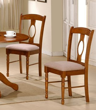 Set of 2 Dining Chairs - Contemporary Medium Brown Finish