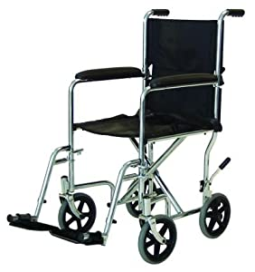 Bariatric Transport Wheelchair - 400 lb Capacity - 12.5 inch Rear Wheels