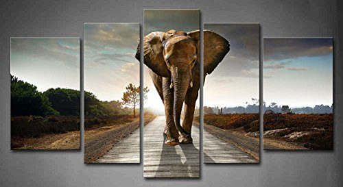 5 Panel Wall Art Elephant Walking In A Road With The Sun From Behind Painting Pictures Print On Canvas Animal The Picture For Home Modern Decoration Piece (Stretched By Wooden Frame,Ready To Hang)