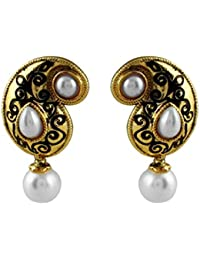 Gehnamart Yellow Gold Plated Imitation Pearl And Emerald Designer Stud Earring