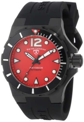 Swiss Legend Women's 10061A-BB-05-W Abyssos Automatic Red Dial Black Silicone Watch