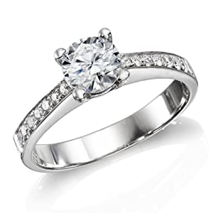 Certified, Round Cut, Solitaire Diamond Ring in 14K Gold / White (1/2 ct, F Color, SI2 Clarity)