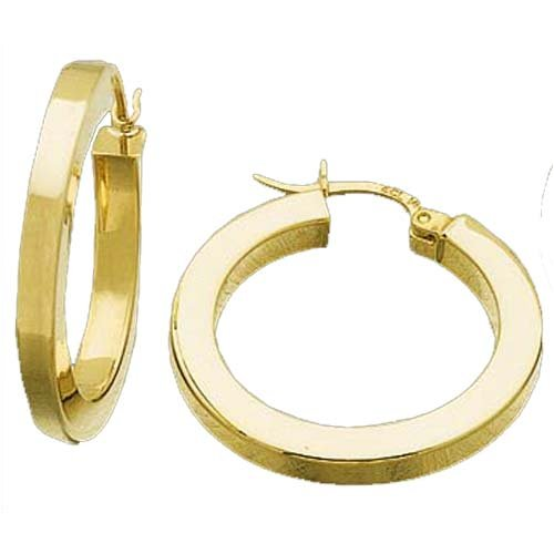 Polished 14kt yellow gold earrings yellow gold square hoop earrings
