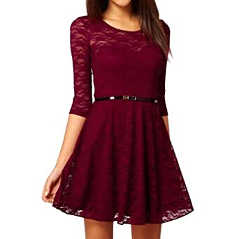 Ostart Sexy Lady Lace 3/4 Sleeve One-piece Dress (8, Wine Red)