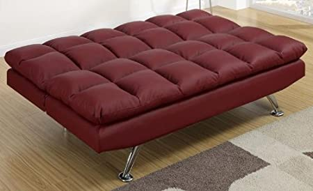 Burgundy Faux Leather Adjustable Sofa Bed by Poundex