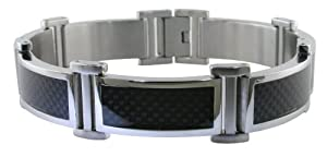 Men's Stainless Steel Bracelet with Carbon Fiber, 8.5