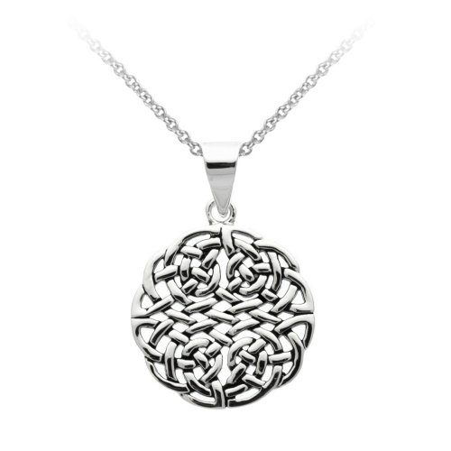 Sterling Silver Celtic Knot Medallion Pendant Necklace with Rolo Chain, 18