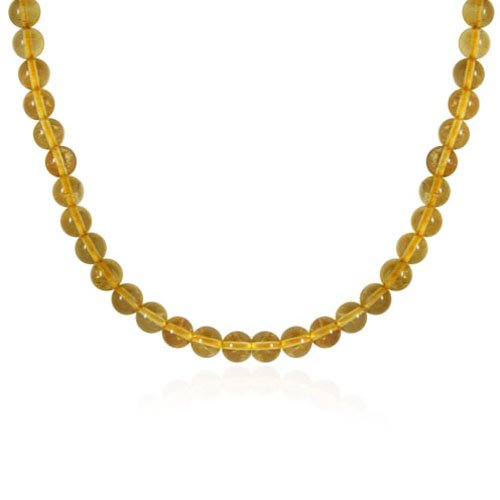 6mm Round Inclusion Citrine Bead Necklace, 22+2